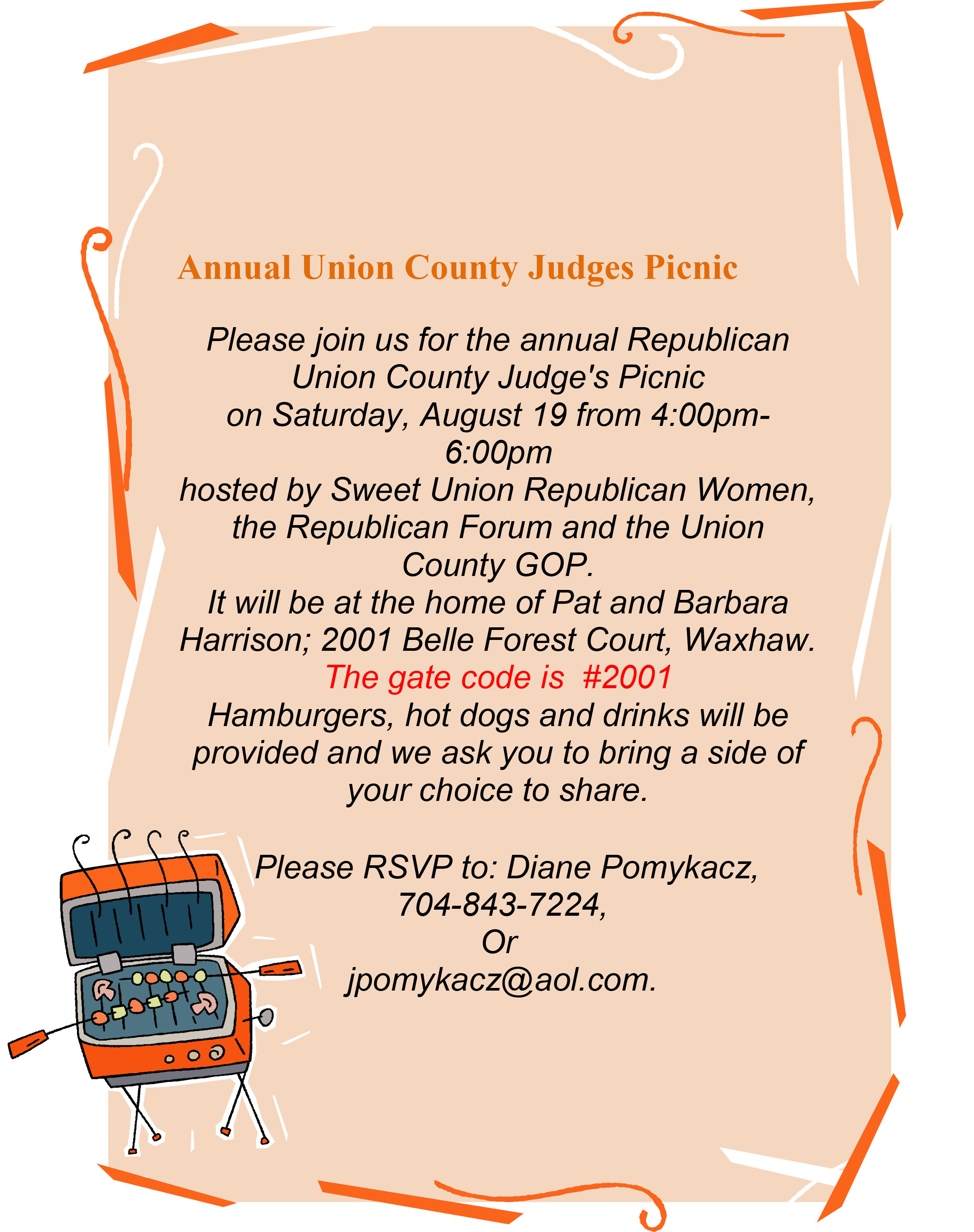 UCGOP Annual Judges Picnic @ Home of Barbara Harrison | Waxhaw | North Carolina | United States